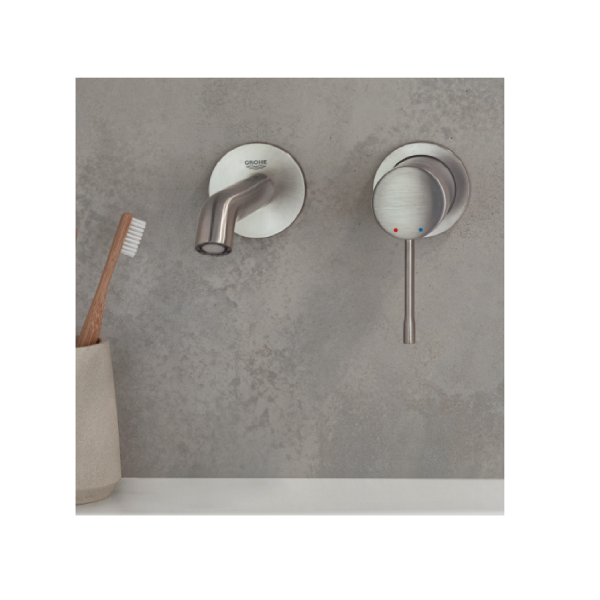 Mitigeur Lavabo Grohe Essence Mural 2 trous Taille L Nickel
