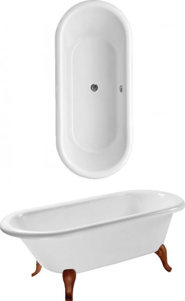 Baignoire Sur Pied Villeroy et Boch Hommage 1771x771x450mm Star White UBQ180HOM700V96