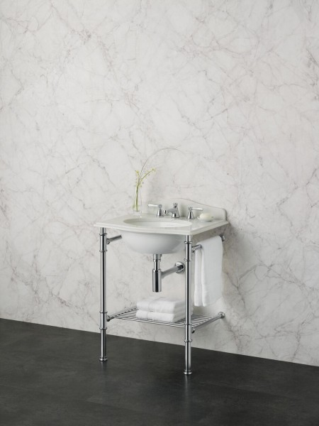Lavabo Colonne Victoria + Albert Metallo 61 Quartz Sans Trou 610x494x945mm Chrome Poli/Blanc