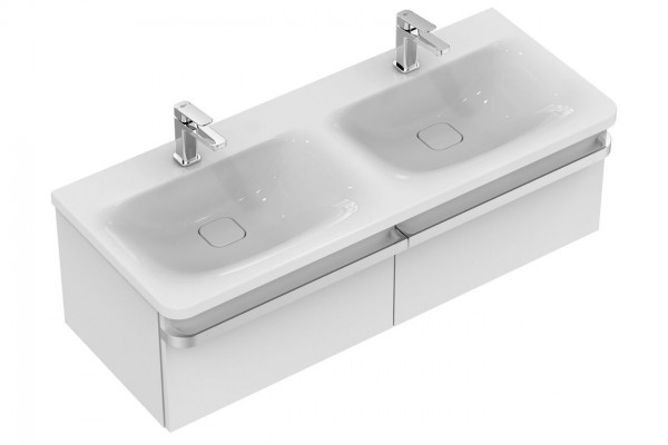 Meuble Double Vasque Ideal Standard Tonic II 1200 mm Blanc Brillant Laqué R4305WG