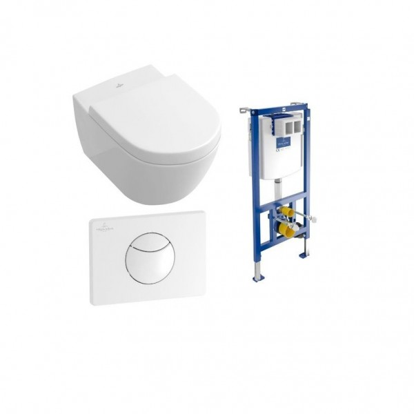 WC Suspendu Villeroy et Boch Subway 2.0 Blanc Sans Bride Abattant Soft Close Quick Release 4 en 1 5614R0R1 + 9M68S101 + 92246100 + 92248568