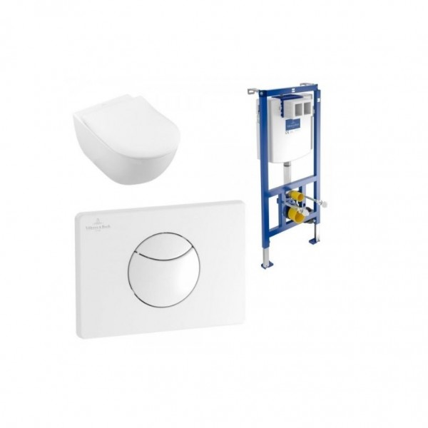 WC Suspendu Villeroy et Boch Subway 2.0 Blanc Sans Bride Abattant SoftClose QuickRelease 3en1